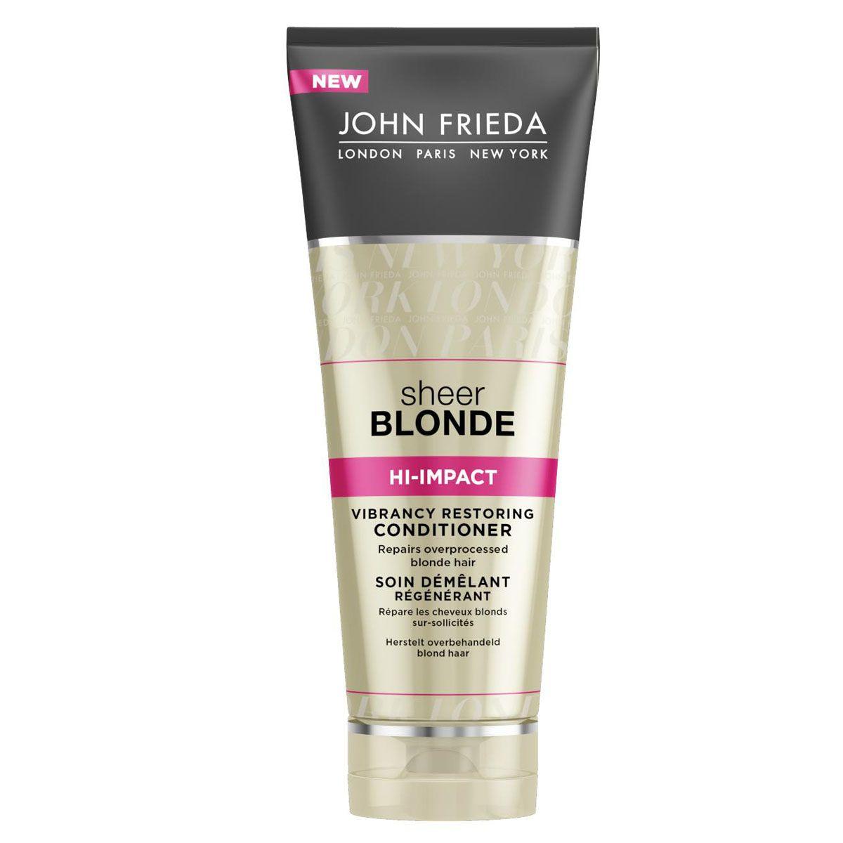 John Frieda Восстанавливающий кондиционер для сильно поврежденных волос Sheer Blonde HI-IMPACT 250 млjf213220Реставрирует сильно поврежденные светлые волосы. Реанимирует и восстанавливает истонченные сильно поврежденные светлые волосы, возвращает им здоровый блеск и эластичность. Восстанавливающий кондиционер дополнительно увлажняет и питает ослабленные истонченные участки.