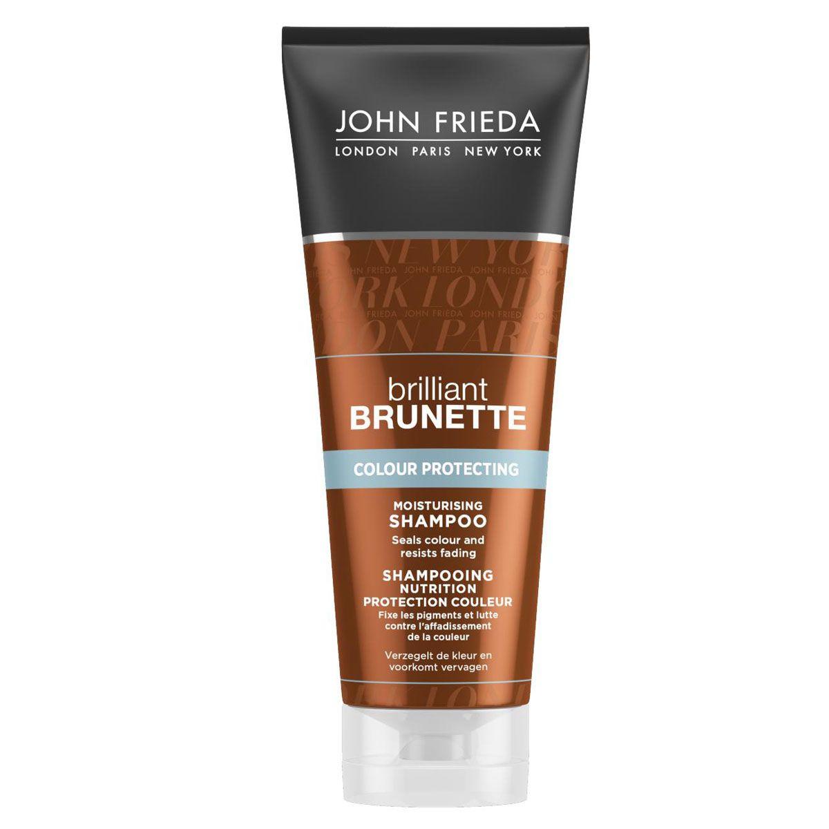 John Frieda Увлажняющий шампунь для защиты цвета темных волос Brilliant Brunette COLOUR PROTECTING 250 млjf311110Закрепляет цвет и поддерживает его интенсивность. Сохраните красоту и стойкость цвета волос. Увлажняющий шампунь поможет защитить и сохранить цвет темных волос, компенсируя недостающую влагу сухим и окрашенным темным волосам.
