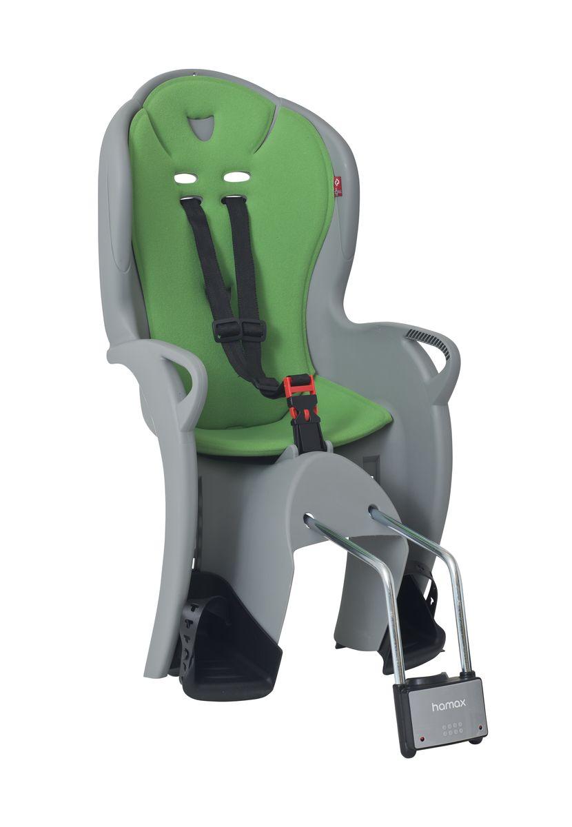 Детское кресло Hamax Kiss, цвет: серый, зеленый551044Регулируемый ремень безопасности и подножки. Дополнительные мягкие пряжки для фиксации ребенка в кресле очень легкие и комфортные, но при этом обеспечивают надежную фиксацию ребенка в велокресле, позволяя при необходимости совершать резкие маневры и торможения. Эргономика велокресла рассчитана так что спинка кресла не будет мешать голове ребенка в моменты когда он хочет откинуться назад кресла в шлеме. Механизмы регулировки застежек позволяют комфортно отрегулировать их вместе с ростом ребенка. Переставляйте детское сиденье для велосипеда между двумя велосипедами Детское сиденье для велосипеда очень легко крепится и освобождается от велосипеда. Приобретая дополнительный кронштейн, вы можете легко переставлять детское сиденье с одного велосипеда на другой. Hamax рекомендует, что ребенок должен всегда носить шлем при использовании детского сиденья. Особенности модели * Проработанная эргономика кресла для максимально комфортной посадки. * Специальная конструкция пряжек...