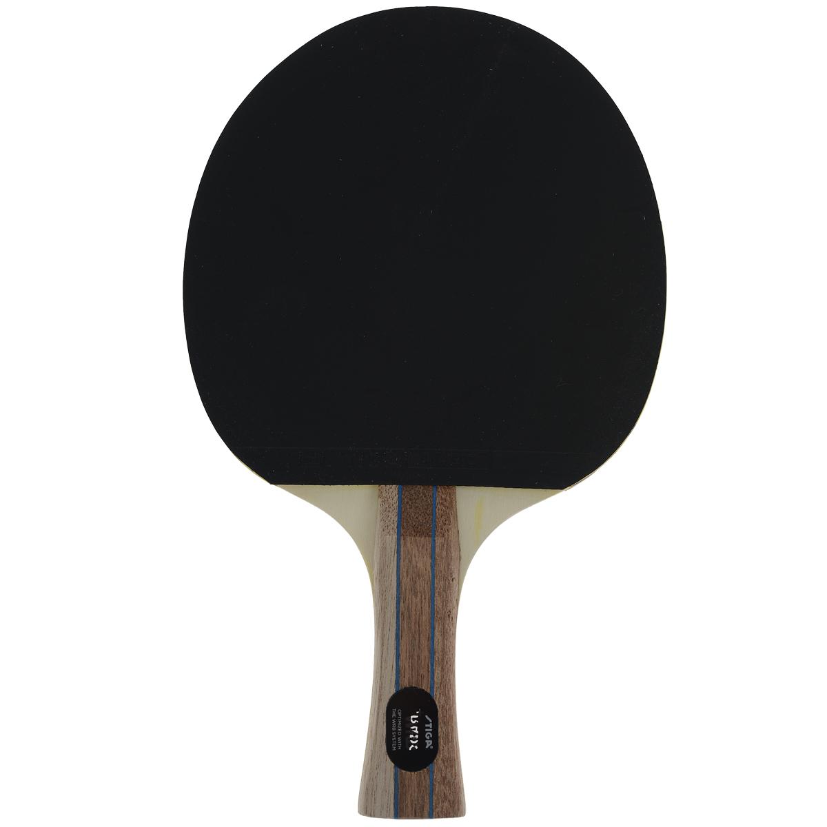 Ракетка для настольного тенниса Stiga Dorado, цвет: черный228202Stiga Dorado - прекрасная ракетка для игроков, которые хотят намного больший контакт и контроль в их активной всесторонней игре. Основные характеристики: Контроль: 100. Скорость: 35. Кручение: 29. Ручка: Concave. Накладки: Magic 1.6.