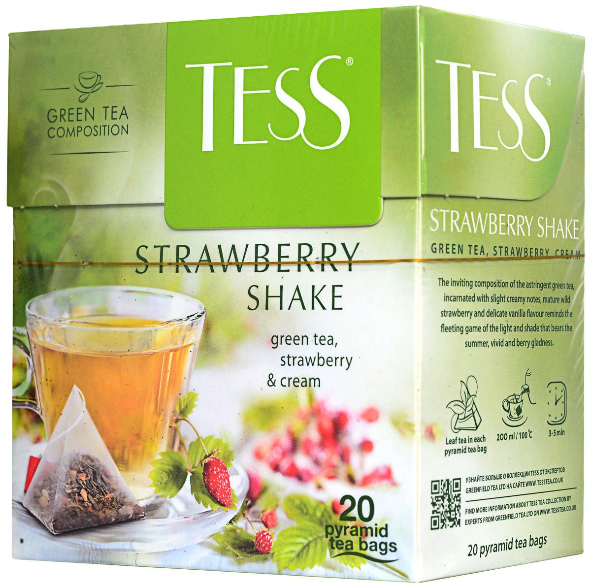 Tess Strawberry Shake зеленый чай в пирамидках, 20 шт0884-12Заманчивое сочетание спелой земляники и терпкого зеленого чая в пакетиках Tess Strawberry Shake, в котором слышны тонкие сливочные ноты - как мимолетная игра света и тени, из которой рождается летняя, праздничная, яркая земляничная радость.