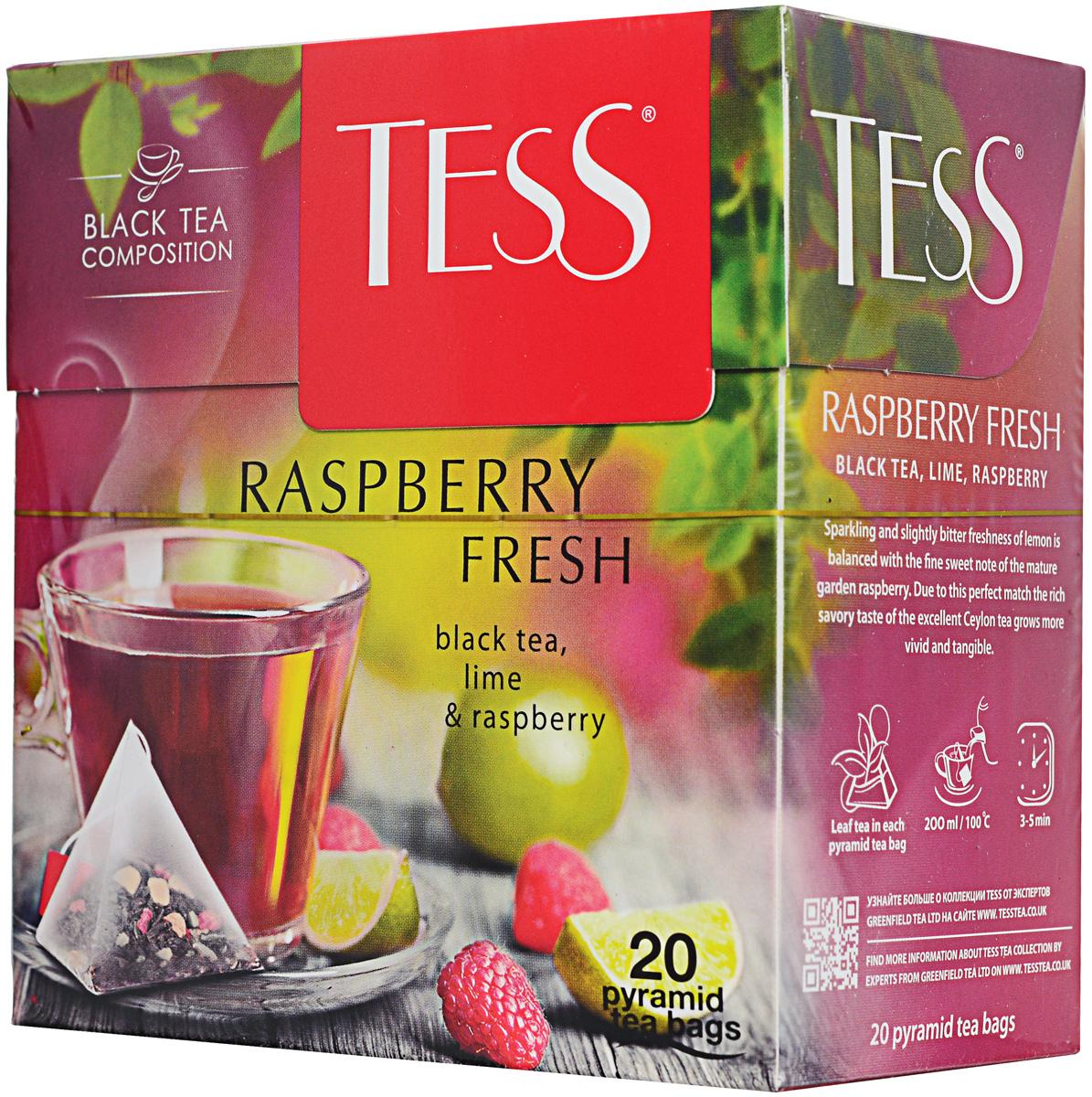 Tess Raspberry Fresh черный чай в пакетиках, 20 шт1147-12В чае Tess Raspberry Fresh искрящаяся, чуть горьковатая свежесть лайма уравновешена тонкой сладковатой ноткой спелой садовой малины. Благодаря этому совершенному балансу глубокий пряный вкус превосходного цейлонского чая становится еще ярче и выразительнее.