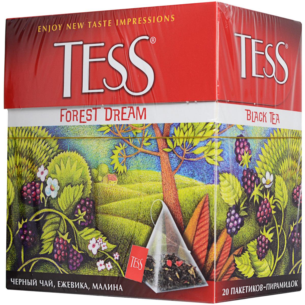 Tess Forest Dream ароматизированный чай в пакетиках, 20 шт0784-12Чудесная композиция благородного цейлонского чая с кусочками ежевики и лесной малины открывает новый великолепный вкус, в котором слышится благоухание лесной опушки, согретой июльским солнцем. Уважаемые клиенты! Обращаем ваше внимание на возможные изменения в дизайне упаковки. Поставка осуществляется в одном из двух приведенных вариантов упаковок в зависимости от наличия на складе.