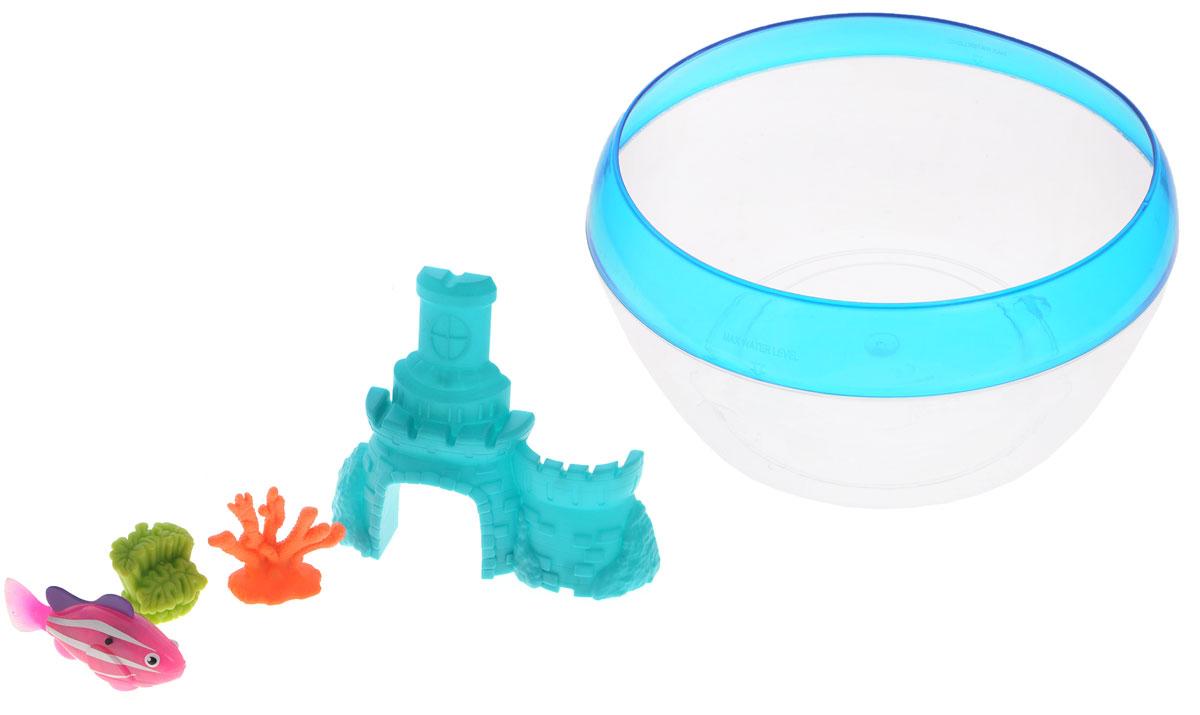 Robofish Интерактивная игрушка РобоРыбка с аквариумом замком и кораллами цвет бирюзовый2533_замок бирюзовыйИнтерактивная игрушка Robofish РобоРыбка с аквариумом замком и кораллами представляет собой инновационную высокотехнологичную игрушку, которая активируется в воде. Игрушка имитирует повадки и движения настоящей маленькой рыбки. Может двигаться в пяти направлениях благодаря электромагнитному мотору. В набор также входят аквариум, замок и два коралла. Когда РобоРыбка будет погружена в емкость с водой, она начнет плавать, опускаться и подниматься к поверхности воды. Такую игрушку ребенок сможет брать с собой в ванну для игры или просто наблюдать за ее повадками в аквариуме. Яркая расцветка в сочетании с техническими характеристиками делает игрушку уникальной и привлекательной для малышей. Рыбка работает от двух батареек типа LR44 (2 уже установлены в игрушку и 2 запасные).