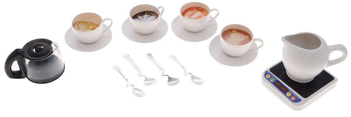 ABtoys Кофейный набор 15 предметовPT-00206_вид 3Игровой кофейный набор ABtoys входит в большую серию игрушек Помогаю маме, разработанную для приучения девочек и мальчиков к домашним обязанностям в игровой форме. С этим набором ваша юная помощница сможет угощать своих любимых кукол ароматным кофе. В комплект входят чайник, 4 ложки, 4 чашки с блюдечками и сливочник. Набор выполнен из качественного и безопасного материала. Играя, ребенок сможет развить речь, аккуратность, усидчивость, а также воображение, двигательную активность рук и фантазию.