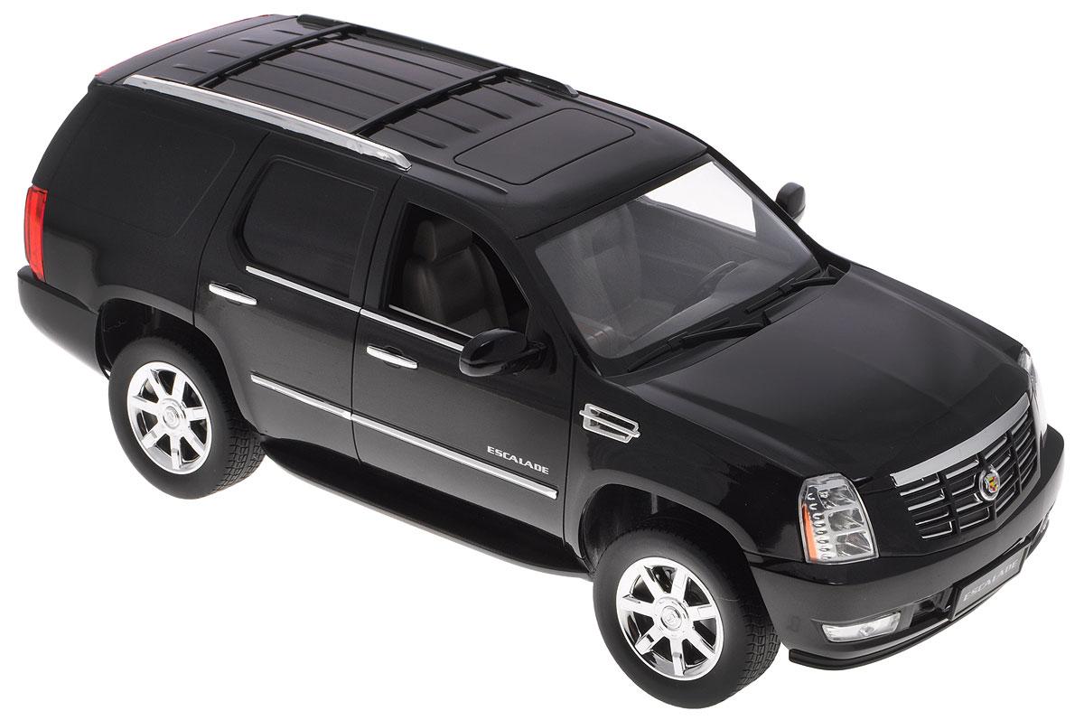 Rastar Радиоуправляемая модель Cadillac Escalade цвет черный28400_черныйРадиоуправляемая модель Rastar Cadillac Escalade - точная копия настоящего автомобиля в масштабе 1:14. Юные гонщики оценят эту машину за прекрасные технические характеристики и полную свободу передвижений в любую сторону. Моделью легко управлять и любая гонка принесет удовольствие. Управление машиной происходит с помощью пульта управления. Автомобиль двигается вперед и назад, поворачивает направо, налево и останавливается. Имеются световые эффекты. Автомобиль изготовлен из пластика с металлическими элементами. Колеса игрушки прорезинены и обеспечивают плавный ход. Пульт управления работает на частоте 27 MHz. Радиоуправляемые игрушки способствуют развитию координации движений, моторики и ловкости. Ваш ребенок часами будет играть с моделью, придумывая различные истории и устраивая соревнования. Машина работает от 5 батареек типа АА (не входят в комплект). Для работы пульта управления необходима одна батарейки типа Крона (не входит в комплект).