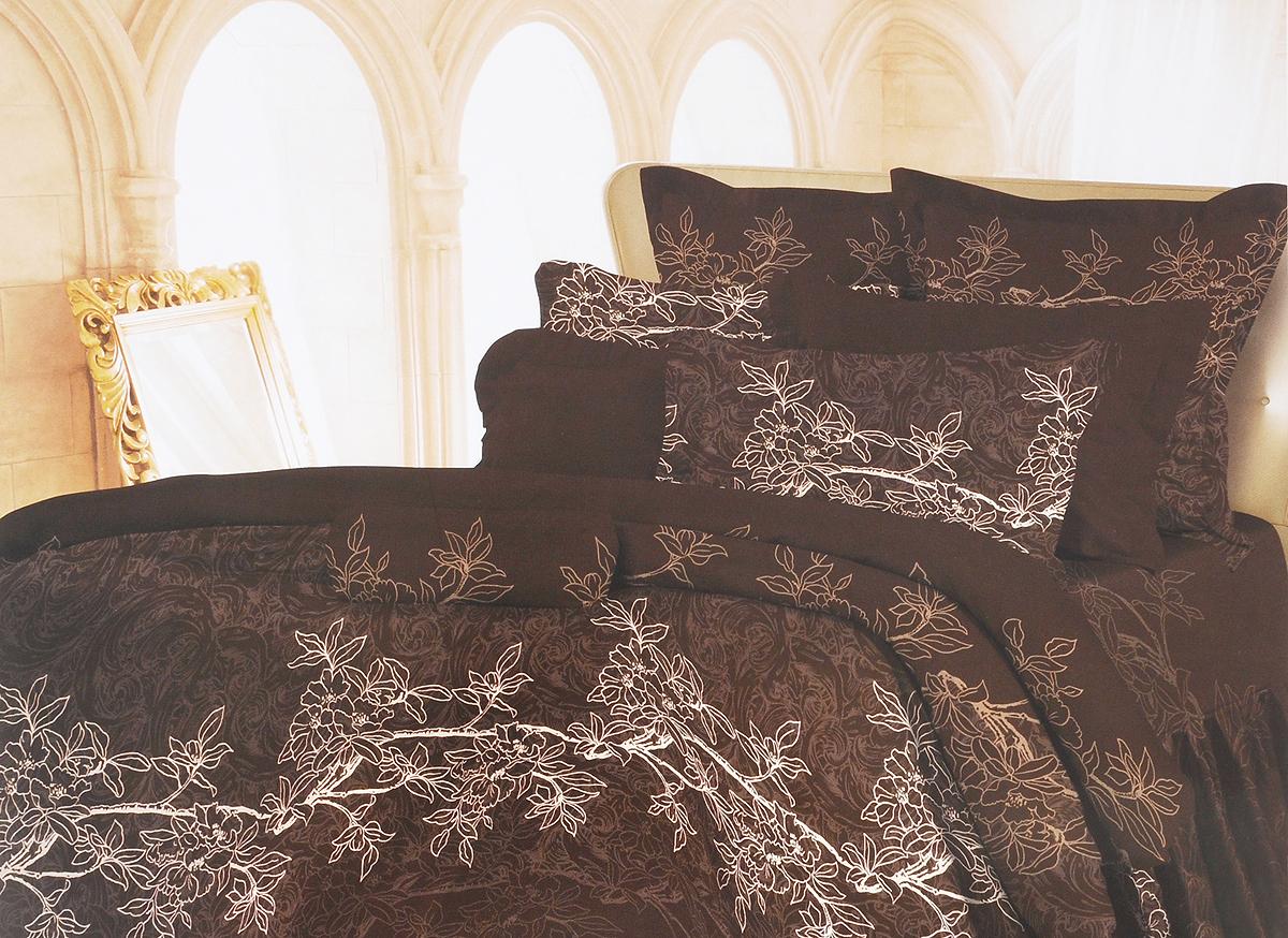 Комплект белья Romantic Милена, евро, наволочки 70х70, цвет: темно-коричневый, серый. 326126326126Роскошный комплект постельного белья Romantic Милена выполнен из ткани Lux Cotton, произведенной из натурального длинноволокнистого мягкого 100% хлопка. Ткань приятная на ощупь, при этом она прочная, хорошо сохраняет форму и легко гладится. Комплект состоит из пододеяльника, простыни и двух наволочек, оформленных оригинальным принтом. Постельное белье Romantic создано специально для утонченных и романтичных натур. Дизайн постельного белья подчеркнет ваш индивидуальный стиль и создаст неповторимую и романтическую атмосферу в вашей спальне.