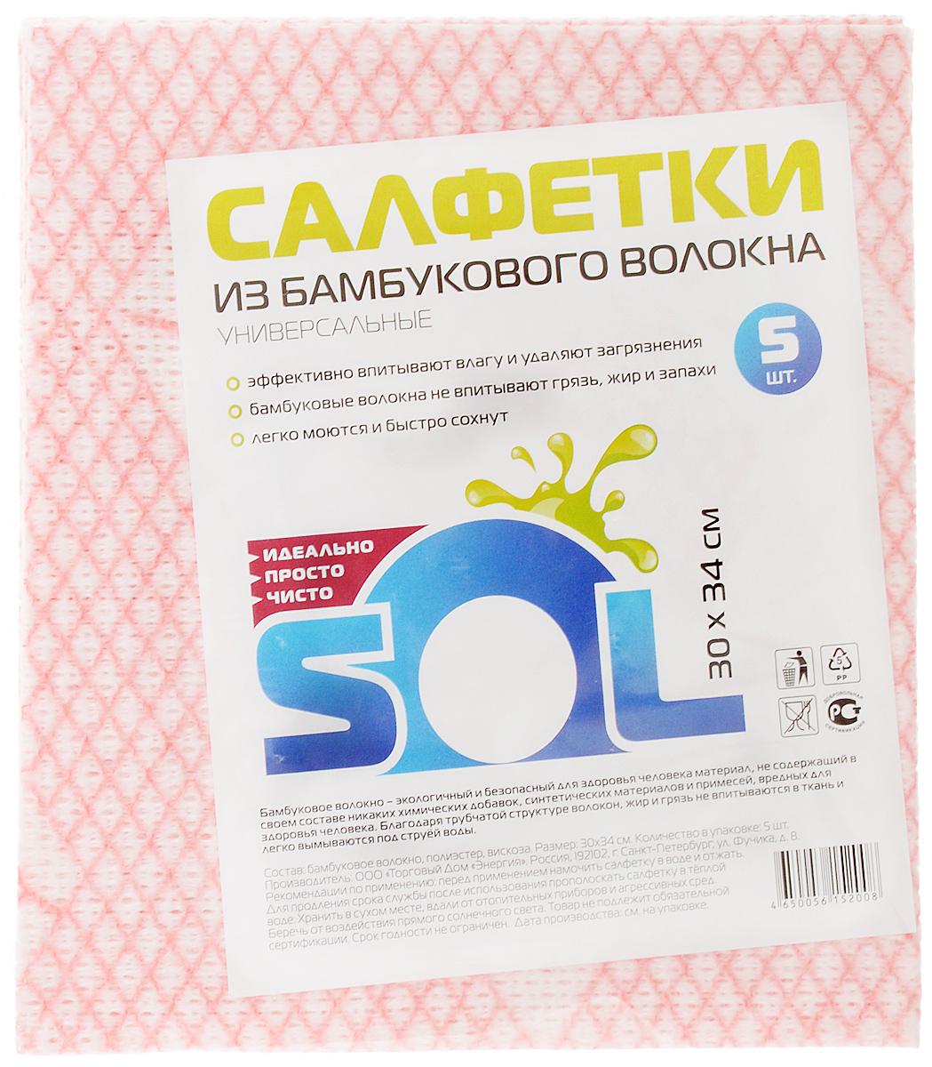 Салфетка для уборки Sol из бамбукового волокна, 30 x 34 см, 5 шт10031Салфетки Sol, выполненные из бамбукового волокна, вискозы и полиэстера, предназначены для уборки. бамбуковое волокно - экологичный и безопасный для здоровья человека материал, не содержащий в своем составе никаких химический добавок, синтетических материалов и примесей. Благодаря трубчатой структуре волокон, жир и грязь не впитываются в ткань легко вымываются обычной водой. Рекомендации по уходу: Бамбуковые салфетки не требуют особого ухода. После каждого использования их рекомендуется промыть под струей воды и просушить. Периодически рекомендуется простирывать салфетки мылом. Не следует стирать их с порошками, а также специальными очистителями или бытовыми моющими средствами. Кроме того не рекомендуется сушить салфетки на батарее.