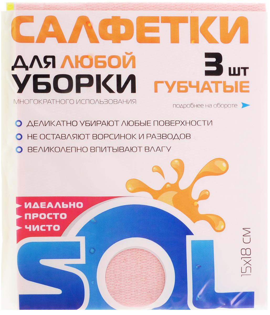 Салфетка Sol из целлюлозы, губчатая, 15 x 18 см, 3 шт10009/50798Салфетки Sol выполнены из целлюлозы с армированной хлопковой нитью. Изделия впитывают влагу в несколько раз больше своего веса, благодаря плотной губчатой структуре. Во влажном состоянии салфетки мягкие и эластичные, при высыхании твердеет, что препятствует размножению бактерий и возникновению неприятных запахов. Рекомендации по применению и уходу: Перед использованием намочить в воде и отжать. Можно применять с различными моющими средствами. Возможна многократная стирка. Хранить в сухом месте, вдали от отопительных приборов и агрессивных сред. Беречь от воздействия прямого солнечного света.