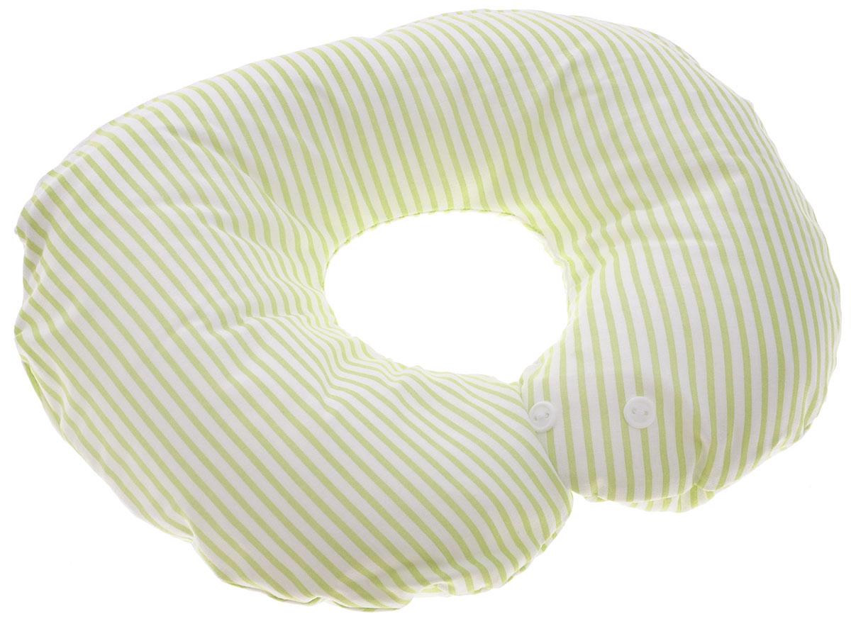 Selby Подушка-воротник для младенца Полоски цвет белый салатовый 30 см х 25 см5582_белый, салатовый, полоскаДетская подушка-воротник Selby Полоски изготовлена из мягкого натурального хлопка с наполнителем из пенополистирола. Подушка удобна и комфортна. Она поддерживает головку ребенка во время сна, отдыха или купания. Благодаря такой подушке при купании руки у мамы свободны, поэтому можно без труда помыть ребенка, пока он плавает. Подушка фиксируется вокруг шеи. Изделие также идеально подходит для длительных поездок в самолете, машине, коляске или автокресле. Подушка имеет съемный чехол на застежке-молнии, который вы можете постирать. Уход: машинная стирка (40 °C) и деликатный отжим.