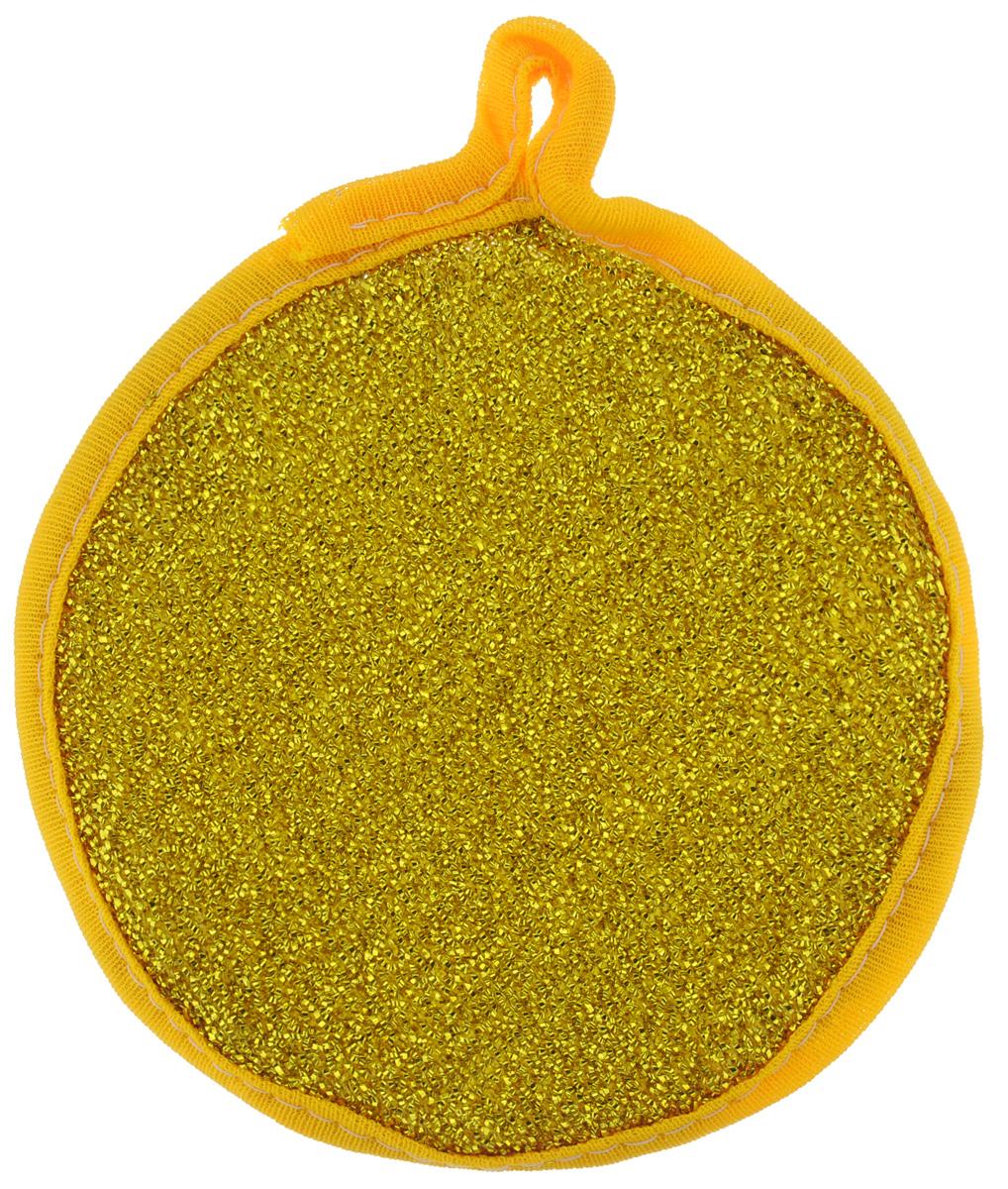 Губка для мытья посуды Youll love, двухсторонняя, для тефлона, цвет: золотой, слоновая кость58755_золотойГубка для мытья посуды Youll love изготовлена из поролона. Губка двухсторонняя: одна сторона выполнена из полипропиленовой металлизированной нити, а другая - из полимерных материалов. Губка подходит для очистки сильно загрязненных кухонных поверхностей, а также для мытья посуды из нержавеющей стали и с тефлоновым покрытием. Материал: полипропиленовая металлизированная нить, поролон, полимерные материалы. Размер губки: 12 см х 12 см х 2,5 см.