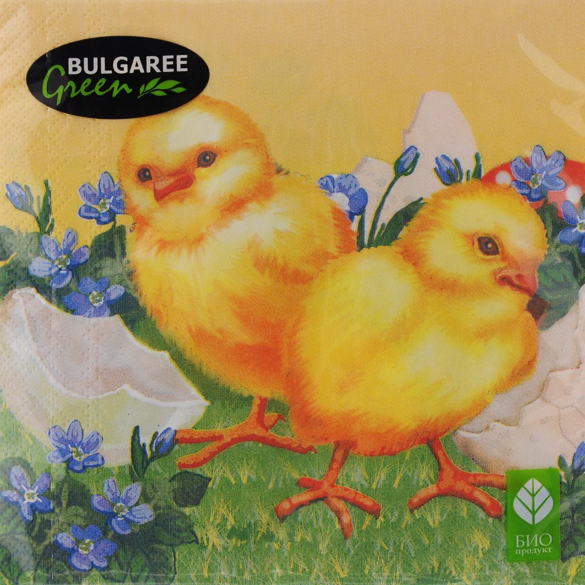 Салфетки бумажные Bulgaree Green Пасхальные цыплята, трехслойные, 33 х 33 см, 20 шт1002917Декоративные трехслойные салфетки Bulgaree Green Пасхальные цыплята выполнены из 100% целлюлозы европейского качества и оформлены ярким рисунком. Изделия станут отличным дополнением любого праздничного стола. Они отличаются необычной мягкостью, прочностью и оригинальностью. Размер салфеток в развернутом виде: 33 х 33 см.