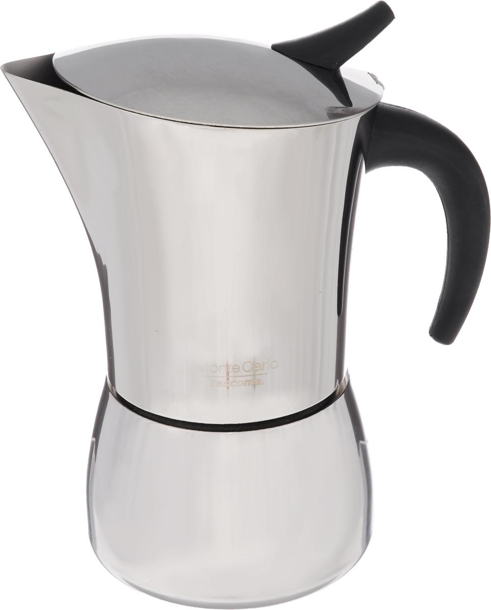 Кофеварка гейзерная Tescoma Monte Carlo, на 6 чашек647106Компактная гейзерная кофеварка Tescoma Monte Carlo изготовлена из высококачественной нержавеющей стали. Объема кофе хватает на 6 чашек. Изделие оснащено удобной ручкой из пластика. Принцип работы такой гейзерной кофеварки - кофе заваривается путем многократного прохождения горячей воды или пара через слой молотого кофе. Удобство кофеварки в том, что вся кофейная гуща остается во внутренней емкости. Гейзерные кофеварки пользуются большой популярностью благодаря изысканному аромату. Кофе получается крепкий и насыщенный. Подходит для газовых, электрических, стеклокерамических и индукционных плит. Нельзя мыть в посудомоечной машине. Высота (с учетом крышки): 19 см. Диаметр (по верхнему краю): 10 см.