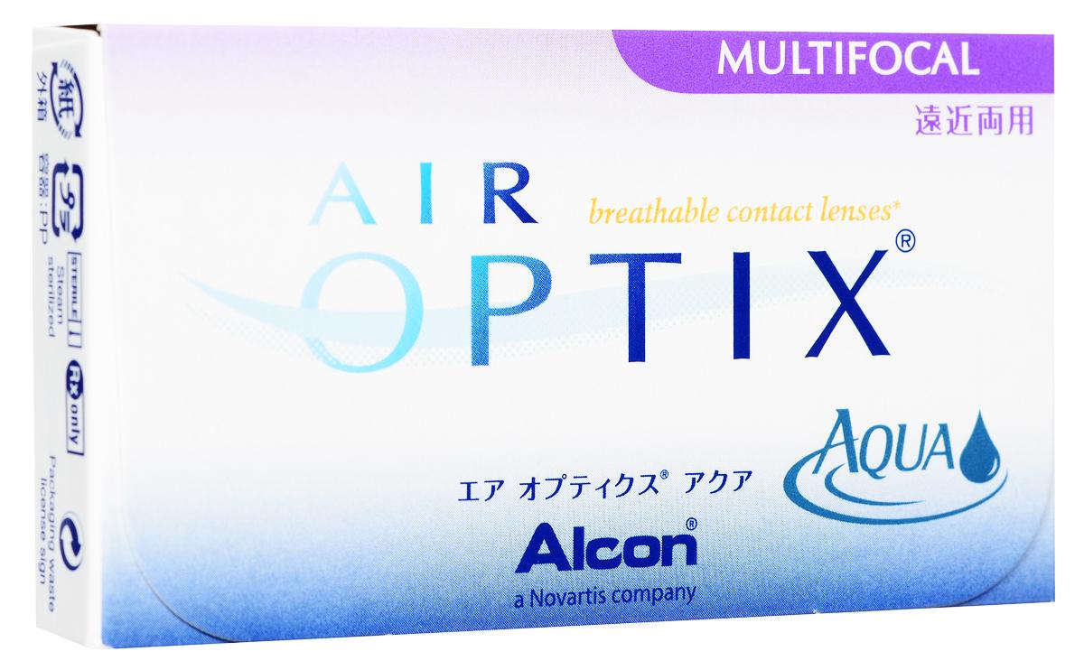 Alcon-CIBA Vision контактные линзы Air Optix Aqua Multifocal (3шт / 8.6 / 14.2 / +4.50 / High)31126Контактные линзы Air Optix Aqua Multifocal предназначены для коррекции возрастной дальнозоркости. Если для работы вблизи или просто для чтения вам необходимо использовать очки, то эти линзы помогут вам избавиться от них. В линзах Air Optix Aqua Multifocal вы будете одинаково четко видеть как предметы, расположенные вблизи, так и удаленные предметы. Линзы изготовлены из силикон-гидрогелевого материала лотрафилкон Б, который пропускает в 5 раз больше кислорода по сравнению с обычными гидрогелевыми линзами. Они настолько комфортны и безопасны в ношении, что вы можете не снимать их до 6 суток. Но даже если вы не собираетесь окончательно сменить очки на линзы, мы рекомендуем вам иметь хотя бы одну пару таких линз для экстремальных ситуаций, например для занятий спортом. Контактные линзы Air Optix Aqua Multifocal имеют три степени аддидации: Low (низкую) до +1.00; Medium (среднюю) от +1.25 до +2.00 и High (высокую) свыше +2.00.
