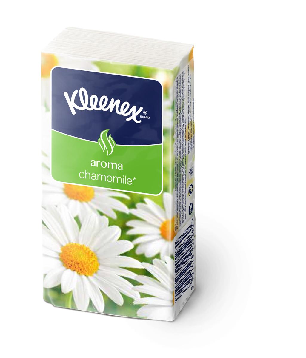 Kleenex Платочки носовые Ромашка 10 х 10 шт26083518Мягкие платочки Клинекс с приятным запахом ромашки напомнят вам о лете и помогут бороться со стрессами и плохим настроением.