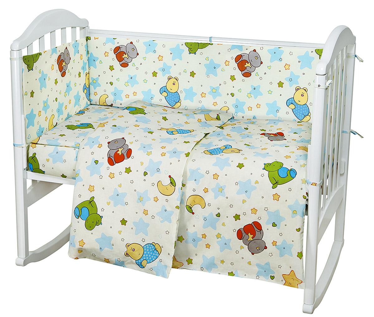 Комплект в кроватку 6 предметов. Звездопад желтыйН613-03Комплект в кроватку для самых маленьких должен быть изготовлен только из самой качественной ткани, самой безопасной и гигиеничной, самой экологичной и гипоаллергенной. Отлично подходит для кроваток малышей, которые часто двигаются во сне. Хлопковое волокно прекрасно переносит стирку, быстро сохнет и не требует особого ухода, не линяет и не вытягивается. Ткань прошла специальную обработку по умягчению, что сделало её невероятно мягкой и приятной к телу.
