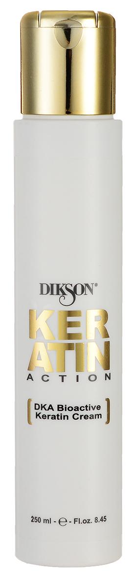 Dikson Keratin Action DKA Биоактивный Кератиновый крем ДОМ BioActive Keratin Cream №4 250 мл555Dikson Keratin Action DKA BioActive Keratin Cream №4 Биоактивный Кератиновый крем ДОМ создан на основе инновационной формулы Dikson DKA, которая является настоящим прорывом в сфере восстановления волос и ухода за ними. Данная формула обеспечивает 100% гарантию успеха и работает следующим образом молекулы кератина, которые, по сути, являются «жидкими волосами (волосы на 88% состоят именно из кератина) глубоко проникают в кутикулу каждого волоса, осуществляя его восстановление и укрепление от негативных воздействий внешних факторов. При регулярном применении биоактивного кератинового крема от компании Диксон волосы становятся здоровыми и сильными, приобретают отличный блеск и красоту. Кератиновый биоактивный крем обеспечивает интенсивное и полноценное питание волос и подходит для восстановления волос любого типа, в том числе, для мелированных, окрашенных и химически выпрямленных.