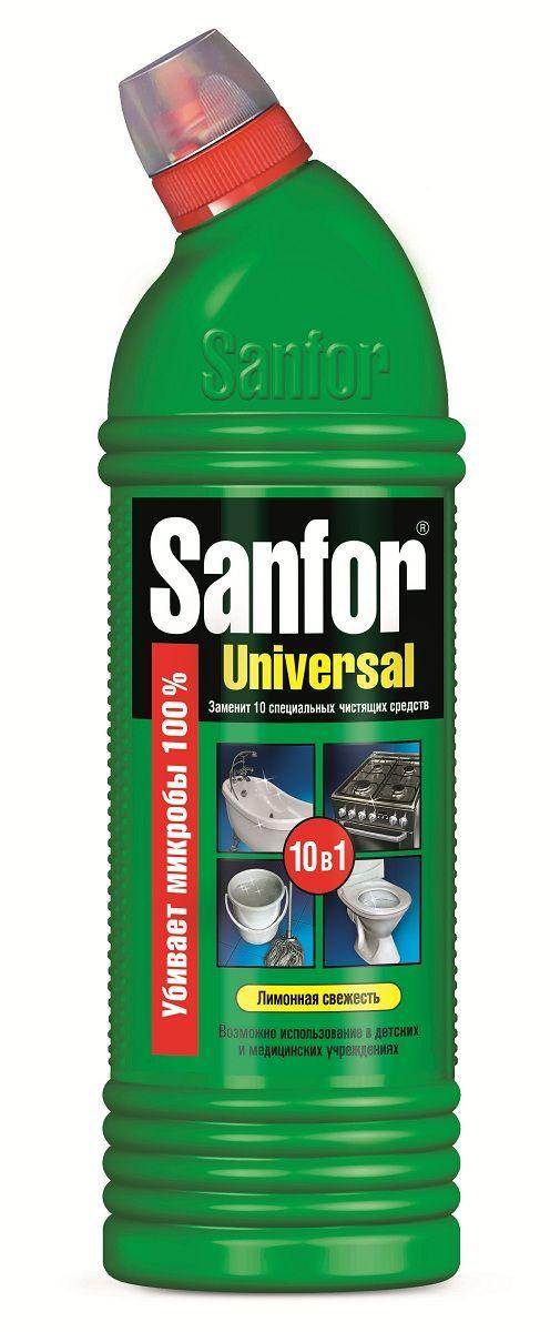 Средство для чистки и дезинфекции Sanfor Universal, 10 в 1, лимонная свежесть, 750 мл4602984004058Средство санитарно-гигиеническое Sanfor Универсал, лимонная свежесть. Одно средство Санфор Универсал заменит 10 специальных чистящих средств для разных поверхностей и областей применения: легко и быстро отчистит раковины, ванны и душевые кабины, унитазы, сливы и водостоки, керамическую плитку, любые твердые моющиеся напольные покрытия, настенные панели, моющиеся обои, бытовую технику. Подходит для уборки и дезинфекции туалетов для животных. Эффективно устраняет серый налет, плесень, жир, мыльные потеки, въевшиеся пятна от продуктов питания и другие загрязнения. Благодаря загущенной формуле экономичен в расходе. Обеспечивает свежий запах. Обладает антимикробными* свойствами. Способ применения: Раковины, ванны, унитазы, керамическая плитка: нанести средство на поверхность, при необходимости выдержать 2-5 мин, почистить и тщательно смыть. Для уничтожения микробов и удаления стойких загрязнений выдержать 60 мин. Канализационные стоки: налить в водосток (250 мл), оставить на ночь....
