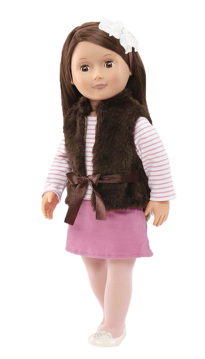 Our Generation Кукла Сиенна11529Кукла Our Generation Сиенна - истинная модница, она любит ходить по магазинам и поэтому составит отличную компанию для своей хозяйки. Самое главное увлечение Сиенны - это разнообразные украшения для волос. Тело куколки Сиенны мягко-набивное, а голова, ноги и руки выполнены из прочного материала. Кукла одета в полосатую кофточку, вельветовую юбку и жилетку из искусственного меха с шелковым пояском. На ногах куклы - светлые колготки и туфельки. Благодаря играм с куклой, ваша малышка сможет развить фантазию и любознательность, овладеть навыками общения и научиться ответственности. Порадуйте свою принцессу таким прекрасным подарком!