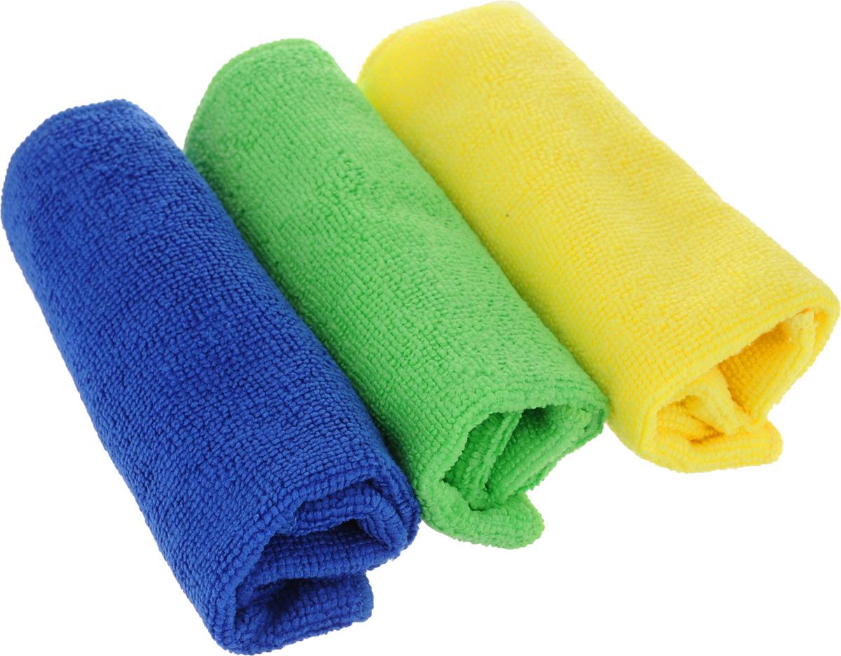 Набор салфеток для уборки Sol, из микрофибры, цвет: синий, зеленый, желтый, 30 x 30 см, 3 шт10035Салфетки Sol подходят для чистки любых поверхностей. Они эффективно удаляют загрязнения без использования моющих средств. Выполнены из микрофибры (полиэстер, полиамид). Салфетки не оставляют разводов, следов и ворсинок. В комплекте 3 салфетки разных цветов.