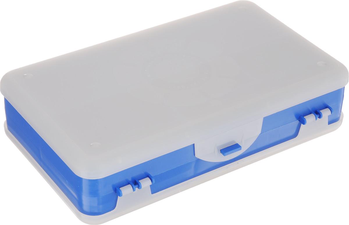 Шкатулка для мелочей Айрис, двухсторонняя, цвет: светло-серый, синий, 21,5 х 12,5 х 5 см. 533758533758_синийШкатулка для мелочей изготовлена из пластика. Шкатулка двухсторонняя, поэтому в ней можно хранить больше мелочей. Подходит для швейных принадлежностей, рыболовных снастей, мелких деталей и других бытовых мелочей. В одном отделении 4 секции, в другом - 5. Удобный и надежный замок-защелка обеспечивает надежное закрывание крышек. Изделие легко моется и чистится. Такая шкатулка поможет держать вещи в порядке. Размер самой большой секции: 21 х 6 х 2,3 см. Размер самой маленькой секции: 13 х 2,3 х 2,3 см.