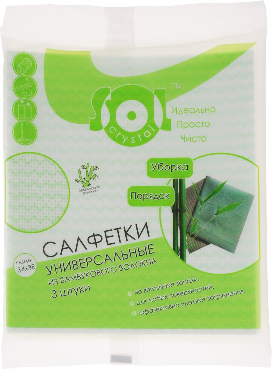 Салфетка Sol Crystal из бамбукового волокна, цвет: белый, зеленый, 34 x 38 см, 3 шт20001/70012_белый, зеленыйСалфетки Sol Crystal, выполненные из бамбукового волокна, вискозы и полиэстера, предназначены для уборки. Благодаря трубчатой структуре волокон, жир и грязь не впитываются в ткань, легко вымываются обычной водой. Рекомендации по уходу: Бамбуковые салфетки не требуют особого ухода. После каждого использования их рекомендуется промыть под струей воды и просушить. Периодически рекомендуется простирывать салфетки мылом. Не следует стирать их с порошками, а также специальными очистителями или бытовыми моющими средствами. Кроме того не рекомендуется сушить салфетки на батарее.