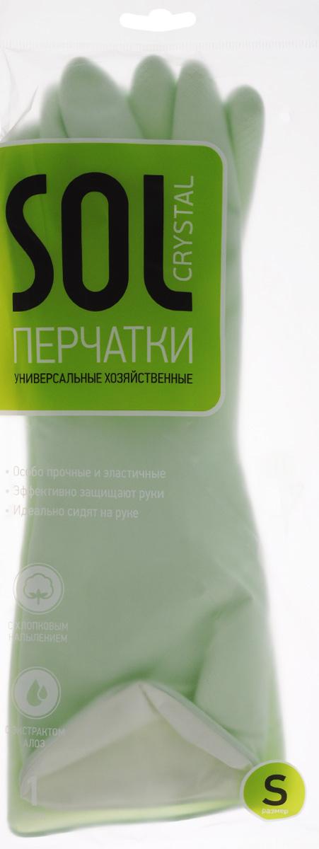 Перчатки хозяйственныеSol Crystal, латексные, с ароматом алоэ. Размер S70008Латексные перчатки Sol Crystal предназначены для защиты рук при выполнении различных видов домашних работ: мытья посуды, уборки дома, хозяйственных работ в саду, ремонтных работ. Они эффективно защищают кожу от воздействия моющих средств, бытовой химии, механических повреждений. Внутреннее напыление из хлопка с экстрактом алоэ обладает противовоспалительным действием и снижает вероятность возникновения аллергических реакций.