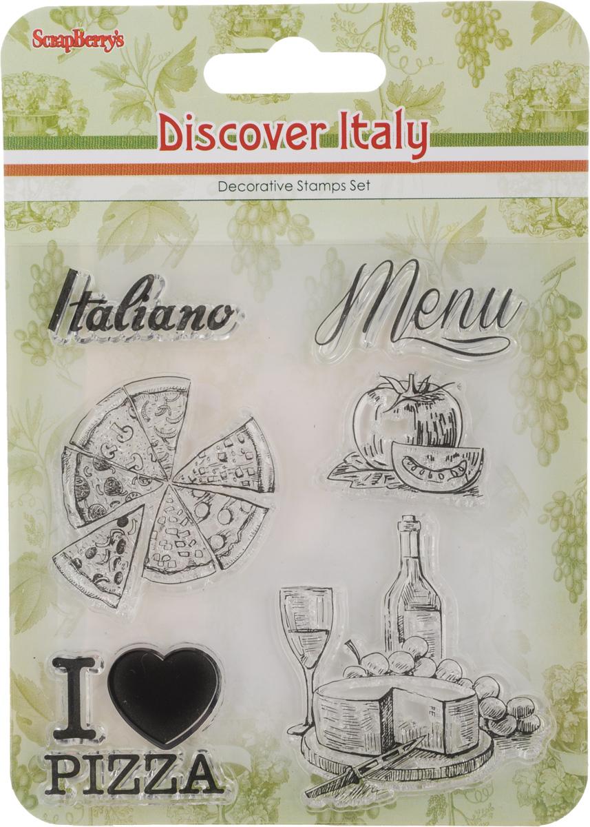 Набор декоративных штампов ScrapBerrys Итальянские каникулы. Итальянский ресторанчик, 6 штSCB4904014b_10,5Набор декоративных штампов ScrapBerrys Итальянские каникулы. Итальянский ресторанчик состоит из 6 прозрачных силиконовых элементов, выполненных в виде надписей, пиццы и других продуктов. Штампы используются для нанесения красивого и ровного рисунка на творческую работу при помощи чернил. Для этого необходимо снять штамп, закрасить его чернилами и прижать в требуемом месте. Изделия предназначены для творческих работ в стиле скрапбукинг, декорирования, оформления альбомов, книг, коробок, фоторамок и других предметов. Разнообразьте свои вещи и украсьте их великолепными оттисками. Количество штампов: 6 шт. Размер самого большого штампа: 5 х 5,5 см. Размер самого маленького штампа: 3,3 х 2,5 см.