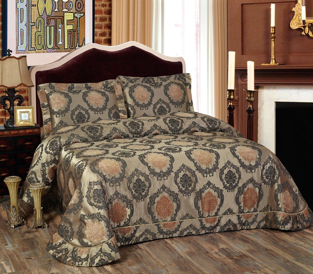 Комплект для спальни Arya Voleta: покрывало 250 х 260 см, 2 наволочки 50 х 70 см, цвет: бежевый, темно-серыйTR1001114Изысканный комплект для спальни Arya Voleta состоит из покрывала и двух наволочек. Изделия выполнены из высококачественного полиэстера, легкие, прочные и износостойкие. Комплект Arya Voleta - это отличный способ придать спальне уют и комфорт. Размер покрывала: 250 х 260 см. Размер наволочки: 50 х 70 см.