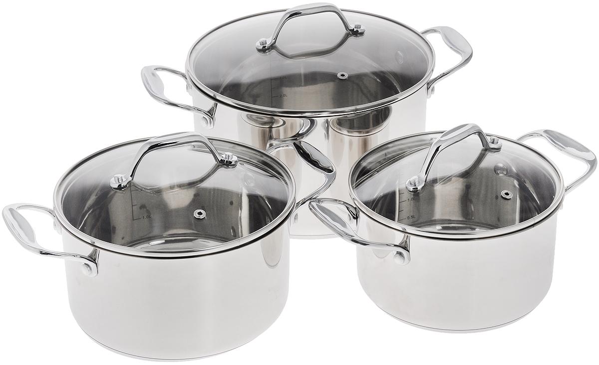 Набор кастрюль Добрыня с крышками, 6 предметов. DO-1707DO-1707Набор посуды Добрыня состоит из трех кастрюль с крышками. Посуда изготовлена из высококачественной нержавеющей стали, что гарантирует безупречный внешний вид, практичность и долговечность. Уникальный метод технологии дна с вштампованным, а затем вплавленным железом с хромом и никелем - это позволяет равномерно распределять и значительно дольше сохранять тепло по стенкам и дну посуды. Крышки выполнены из термостойкого стекла с отверстием для выпуска пара и ободком из нержавеющей стали. Кастрюли оснащены ручками. Изделия не окисляются, не подвергаются коррозии и устойчивы к царапинам. С отметками литража на внутренних стенках посуды вы легко сможете соблюдать пропорции рецептуры без применения дополнительных предметов. Эргономичный дизайн и функциональность набора Добрыня позволят вам наслаждаться процессом приготовления любимых блюд. Изделия подходят для использования на всех видах плит, включая индукционные. Можно...