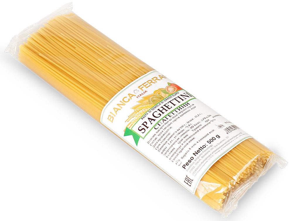 Bianca Ferrari Спагеттини, 500 гBF.007.SDBianca Ferrari Спагеттини - разновидность итальянской пасты, приготовленной по классическому рецепту на основе муки из твердых сортов пшеницы. Она тоньше стандартных Spaghetti.