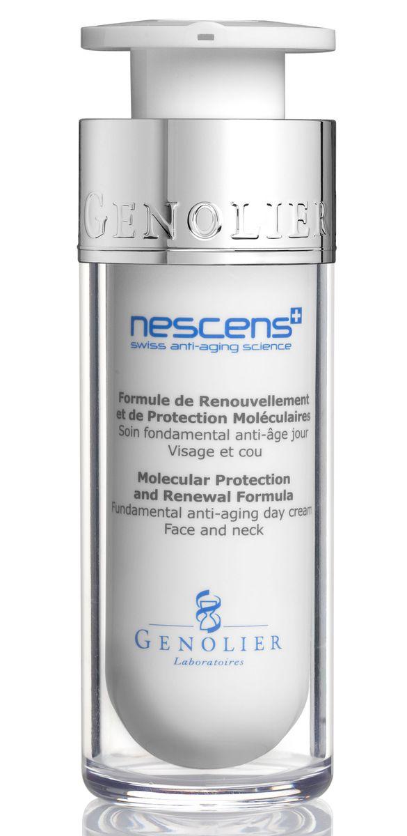 Nescens Дневной крем Обновление и молекулярная защита, 30млNS00103Основной омолаживающий уход в дневные часы для лица и шеи. Активные ингредиенты синергетического действия препятствуют молекулярным повреждениям в результате естественного и фото-старения. Способствуют восстановлению основных параметров молодости кожи: эластичности, плотности и упругости, более гладкого рельефа кожи. сновное действие ингредиентов: подавляют механизмы старения на молекулярном уровне, стимулируют обновление макромолекул межклеточного матрикса, препятствуют процессу гликации, предотвращают потерю гибкости волокон коллагена и эластина, повышают устойчивость кожи к УФ-излучению, снижают активность ферментов, участвующих в расщеплении и разрушении структурных белков, сокращают образование морщин, интенсивно и длительно увлажняют кожу.