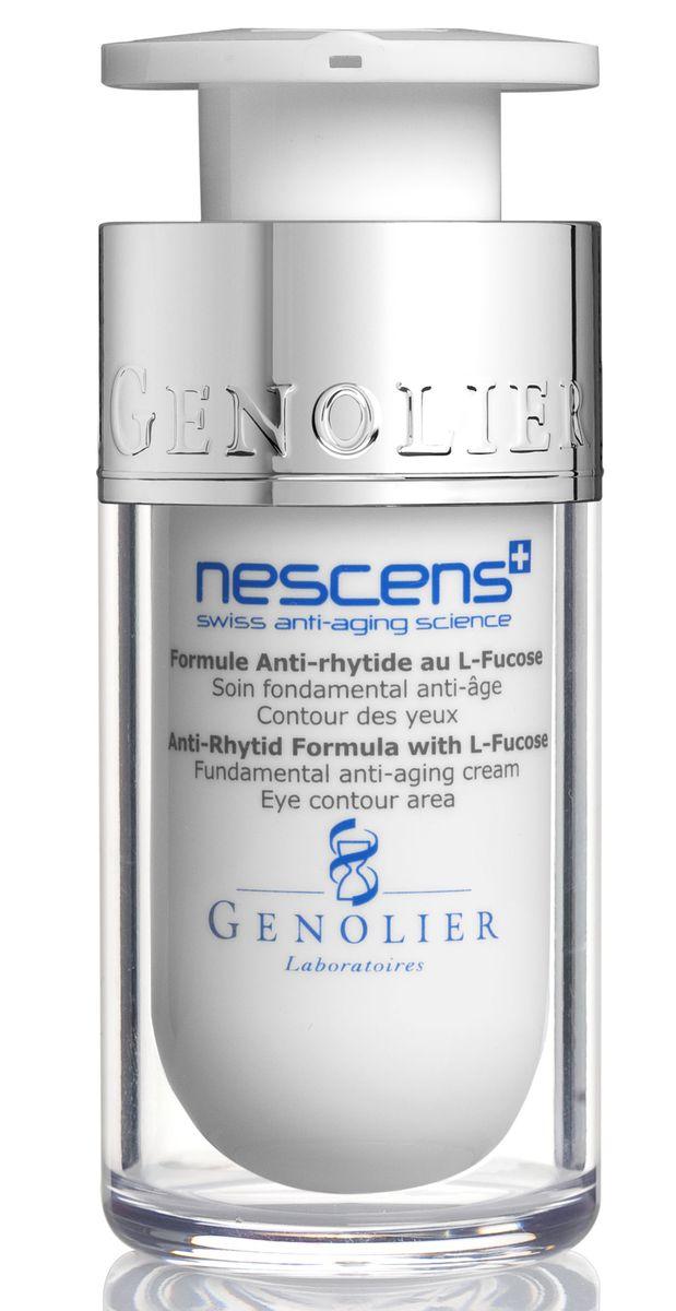 Nescens Крем против морщин с L-фукозой для кожи вокруг глаз, 15млNS00104Омолаживающая технология NESCENS, направленная на обновление тканей периорбитальной области, способствует разглаживанию уже имеющихся морщин и замедляет появление новых. Ваши глаза вновь будут искриться молодостью. Основное действие ингредиентов: стимулируют пролиферацию фибробластов, активируют выработку коллагена и гликозаминогликанов, уменьшают проявление морщин вокруг глаз.