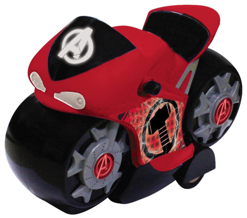Avengers Мотоцикл инерционный цвет красный5073_красныйМотоцикл супергероев из вселенной Мстители! На лобовом стекле мотоцикла и на дисках колёс нанесён логотип «Мстителей», на бортах эмблема супергероя. Мотоцикл изготовлен из высококачественного прочного пластика и принесет ребёнку массу удовольствия во время игры. Световые эффекты.