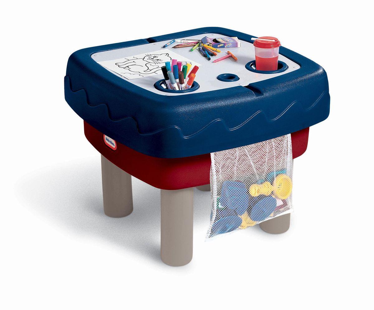 Little Tikes Стол-песочница451TКомпактный стол-песочница Little Tikes выполнен из высококачественного пластика. Стол для игры с водой и песком позволяет сразу нескольким детям создавать потоки и спускать по ним лодочки, которые входят в комплект. Две игровых зоны - одна для игры с песком, другая для интерактивной игры с водой, которая можно сложить в стол для игр. Столик легко собирать, разбирать, хранить и чистить. Выполнен в ярких тонах - такой столик будет отлично смотреться на любой лужайке или дома. У изделия отсутствуют острые углы, что делает его безопасным для маленьких детишек. В комплекте формочки для песка и сумка для их хранения.