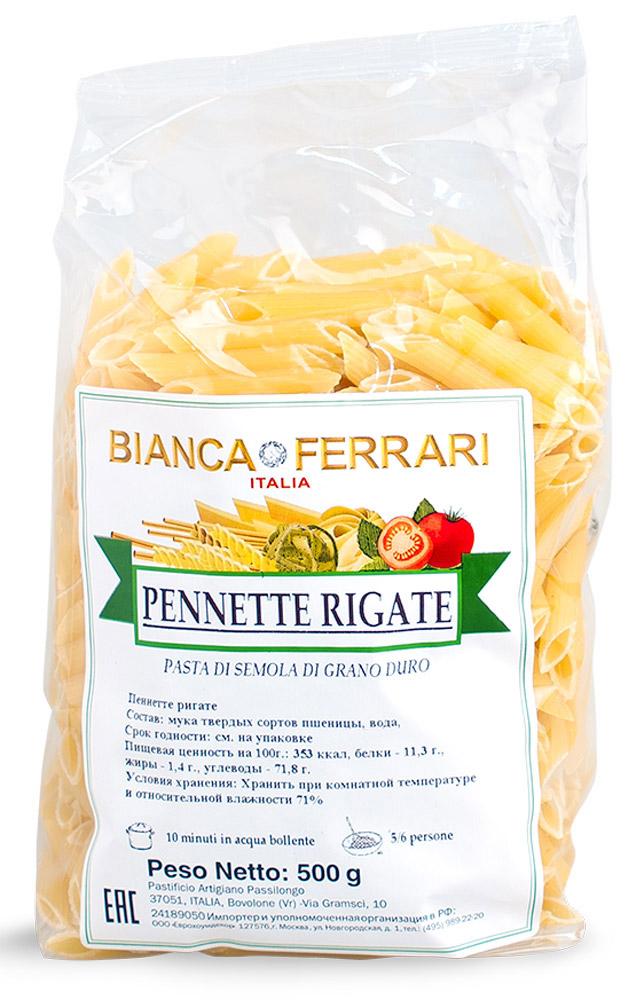 Bianca Ferrari Пеннетте ригате макароны, 500 гBF.002.SDBianca Ferrari Пеннетте ригате - разновидность итальянской пасты, приготовленной по классическому рецепту на основе муки из твердых сортов пшеницы. Варить в течение 10 минут в подсоленной воде.