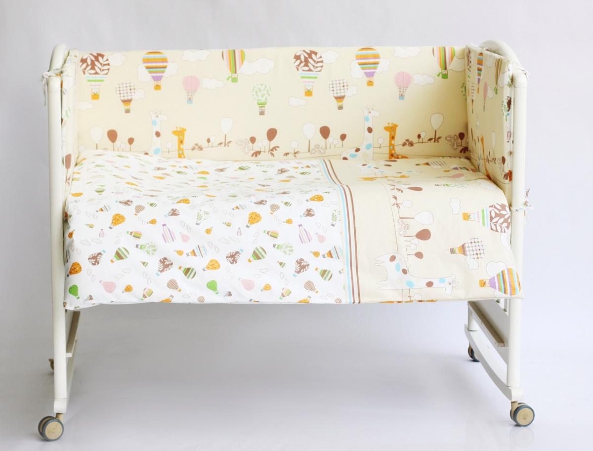 Rabby Baby Комплект в кроватку Лимпопо цвет бежевый616403/4Бортик 44х360 см, съемный чехол (застежка молния), наполнитель холлкон, пл.500г/м2. Пододеяльник 147х112см. Наволочка 60х40см. Одеяло 140х110см. Наполнитель: холлофайбер (ПЭ), плотность 200г/м2. Подушка 60х40см. Наполнитель: холлофайбер (ПЭ). Простыня на резинке на спальное место 120х60.