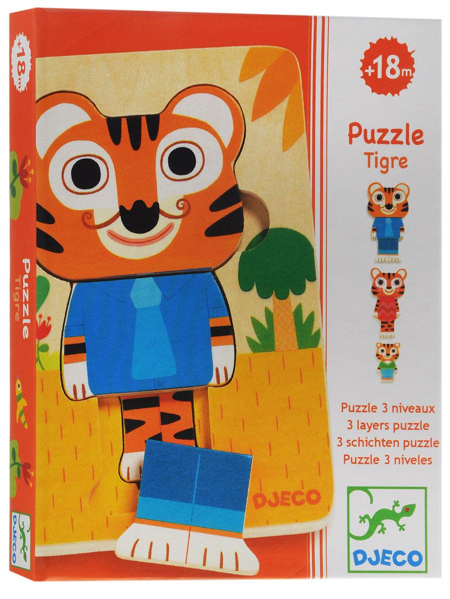 Djeco Пазл для малышей Тигр01470Пазл для малышей Djeco Тигр красивый и очень интересный. Эта игра поможет сплотить всю семью в часы досуга, а дети узнают прекрасное множество цветовой гаммы и расширят свой кругозор. Она развивает у детей моторику движения пальчиков рук, логическое мышление, зрительную память. Возрастных пределов в данной игре нет. В нее может играть и трехлетний малыш с бабушкой и дедушкой.