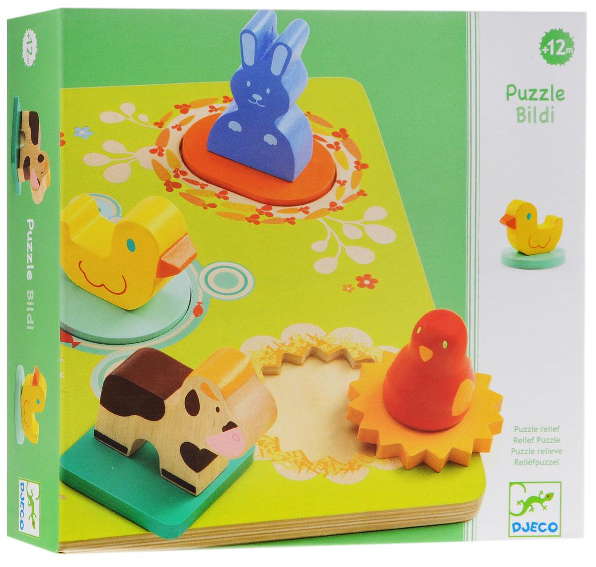 Djeco Пазл для малышей Утка и друзья01030Пазл для малышей Djeco Утка и друзья - это сортировка, классическая первая игра для самых маленьких. Прекрасная игрушка для вашего ребенка. Пазл способствует развитию координации движения, тактильных ощущений, логического мышления и мелкой моторики. Развивающая игрушка помогает ребенку узнать цвета, форму, учит его отличать животных. Игрушка изготовлена из безопасных, экологически чистых материалов.
