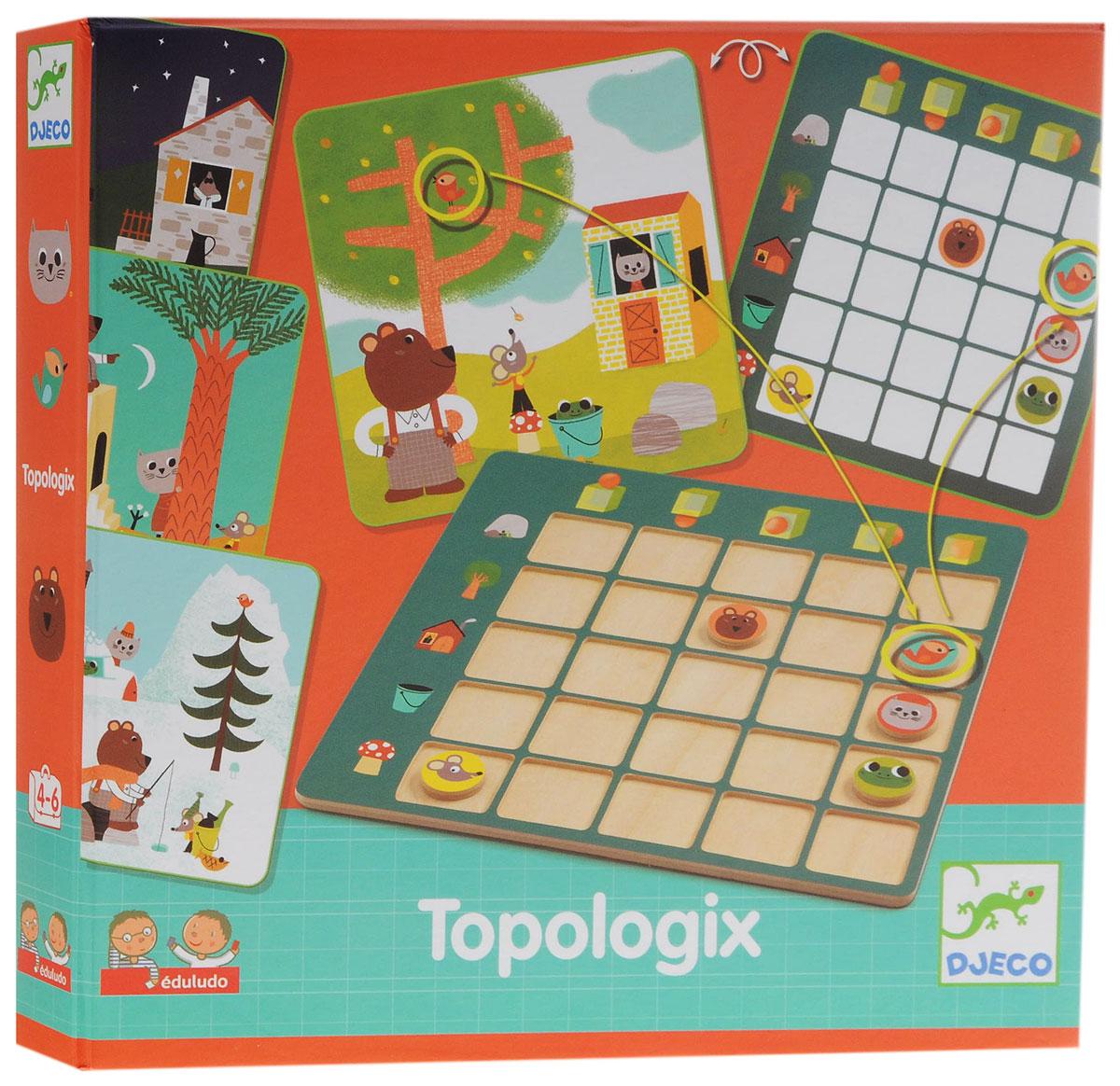 Djeco Обучающая игра Топологик08354Обучающая игра Djeco Топологик - превосходная игра на логику, которая надолго увлечет малыша. В набор входят красочные интересные карточки, а также игровое поле с фишками. На фишках изображены те же персонажи, что на карточках. Смысл игры состоит в том, чтобы расположить фишки на игровом поле согласно положению животных на карточке. Малышу будет очень интересно рассматривать яркие забавные изображения на карточках, определять где находятся персонажи и раскладывать фишки на игровом поле. Игра прекрасно развивает логическое мышление и сообразительность, тренирует моторику детских ручек и учит малыша внимательности и усидчивости. Все детали изготовлены из высококачественных материалов.