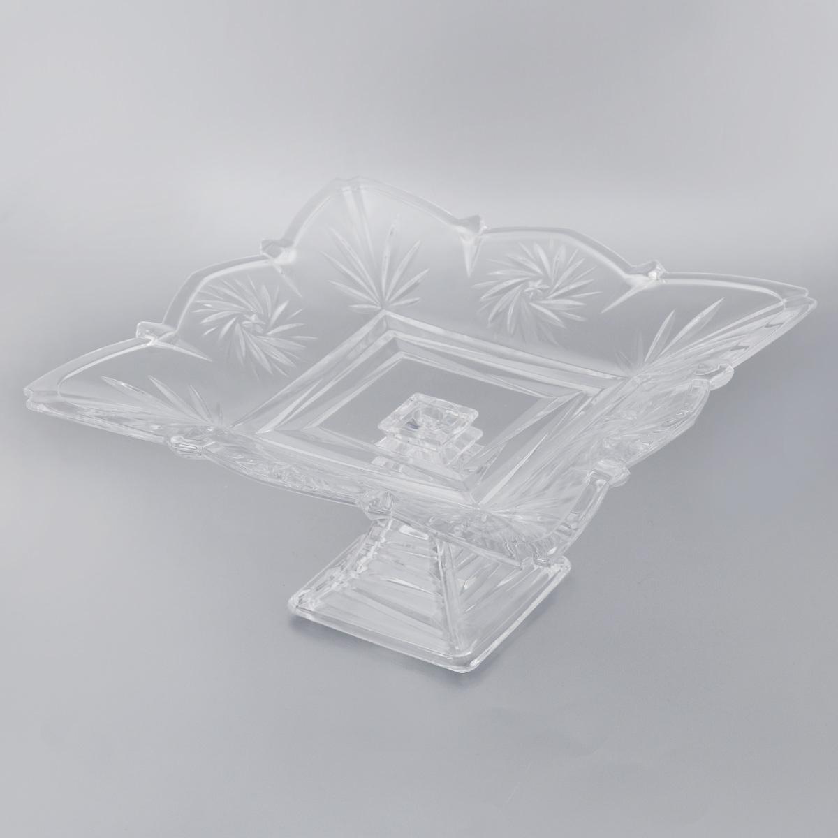 Конфетница на ножке Soga Picasso, 30 х 30 смZ4286WЭлегантная конфетница Soga Picasso на ножке, изготовленная из прочного стекла, имеет многогранную рельефную поверхность. Конфетница предназначена для красивой сервировки сладостей. Изделие придется по вкусу и ценителям классики, и тем, кто предпочитает утонченность и изящность. Конфетница Soga Picasso украсит сервировку вашего стола и подчеркнет прекрасный вкус хозяина, а также станет отличным подарком. Можно мыть в посудомоечной машине. Размер по верхнему краю: 30 х 30 см. Высота: 15,5 см.