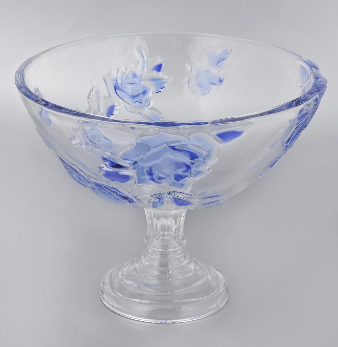 Конфетница Soga Rosette Blue, диаметр 28 смZ4865SЭлегантная конфетница Soga Rosette Blue на ножке, изготовленная из прочного стекла, имеет многогранную рельефную поверхность. Конфетница предназначена для красивой сервировки сладостей. Изделие придется по вкусу и ценителям классики, и тем, кто предпочитает утонченность и изящность. Конфетница Soga Rosette Blue украсит сервировку вашего стола и подчеркнет прекрасный вкус хозяина, а также станет отличным подарком. Можно мыть в посудомоечной машине.