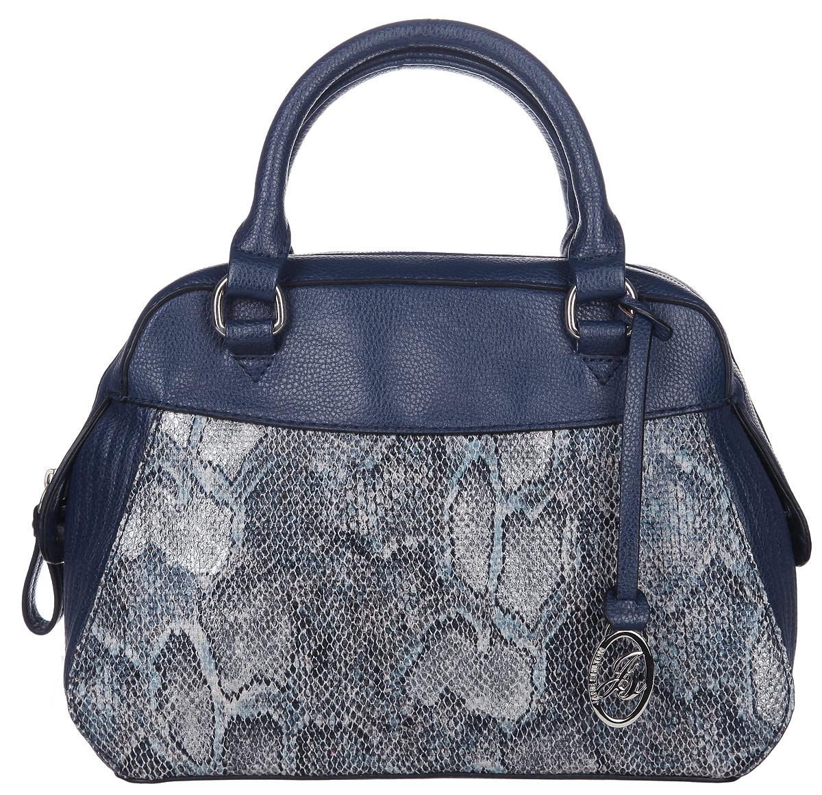 Сумка женская Jane Shilton, цвет: синий, серый. 20602060navyСтильная женская сумка Jane Shilton, выполненная из искусственной кожи, дополнена вставками из искусственной кожи под рептилию. Изделие имеет одно основное отделение, закрывающееся на застежку-молнию. Внутри находятся прорезной карман на застежке-молнии и накладной открытый карман. Модель оснащена двумя удобными ручками и дополнена фирменным брелоком. В комплект входит съемный плечевой ремень. Роскошная сумка внесет элегантные нотки в ваш образ и подчеркнет ваше отменное чувство стиля.