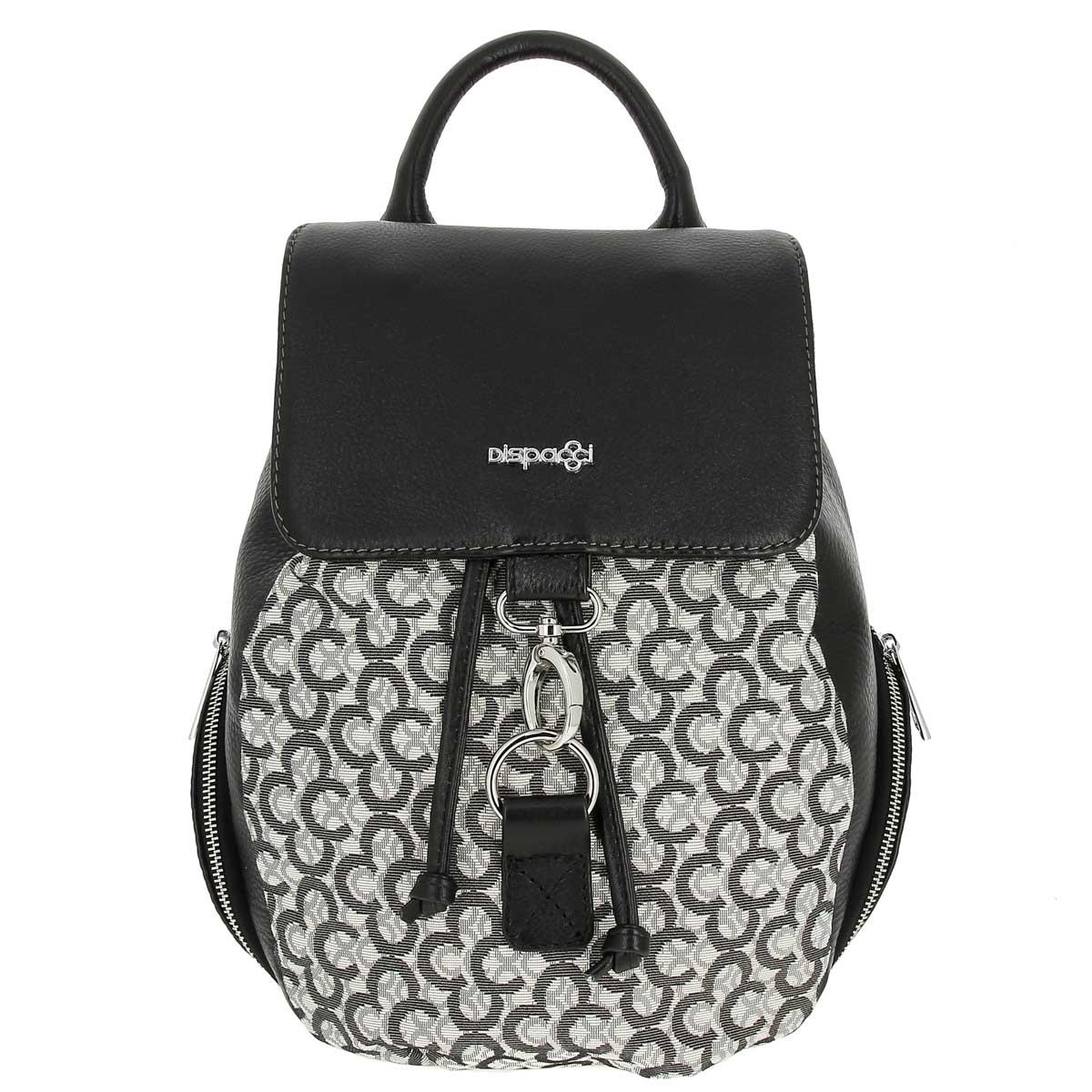 Рюкзак женский Dispacci, цвет: черный. R0163R0163Самым актуальным видом сумки в 2016 году по прежнему остается - рюкзак. Дизайнеры бренда Dispacci не перестают удивлять новыми идеями! Ультрамодный рюкзак в стиле casual, выполнен из высококачественной натуральной кожи черного цвета, в сочетании с серым текстилем. Принт на ткани в виде логотипа бренда, сам текстиль выполнен из натурального хлопка, а за счет специальной пропитки ткань влагоустойчива, будьте уверены что дождь и не чаянно пролитая чашка кофе вам не страшны! Создай свой идеальный образ, приобрети рюкзак от бренда Dispacci! Рюкзак закрывается на общий клапан, застежка - карабин, а также внутри можно затянуть с помощью кожаных ремней. Внутри одно отделение, в котором имеется боковой карман на молнии. С внешней стороны имеются боковые кармашки на молнии, а также один карман на молнии на задней стороне. Рюкзак имеет две лямки и одну короткую ручку. Высота ручки - 10 см. Размер лямок регулируется, максимальная длина 50 см.