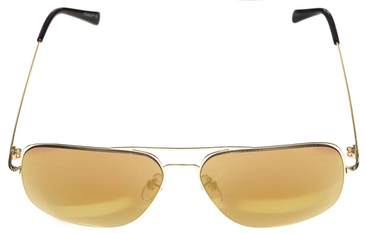 Очки солнцезащитные женские Vitacci, цвет: золотой, коричневый. G163G163Стильные солнцезащитные очки Vitacci выполнены из металла с элементами из высококачественного пластика. Линзы данных очков имеют степень затемнения С3, а также обладают высокоэффективным поляризационным покрытием со степенью защиты от ультрафиолетового излучения UV400. Используемый пластик не искажает изображение, не подвержен нагреванию и вредному воздействию солнечных лучей. Оправа очков легкая, прилегающей формы, дополнена носоупорами и поэтому обеспечивает максимальный комфорт. Такие очки защитят глаза от ультрафиолетовых лучей, подчеркнут вашу индивидуальность и сделают ваш образ завершенным.
