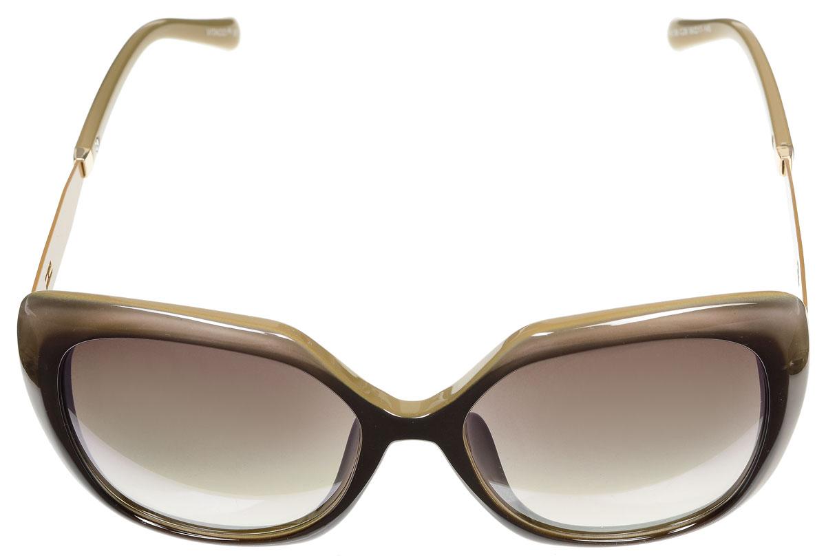 Очки солнцезащитные женские Vitacci, цвет: золотой, коричнево-бежевый. G172G172Стильные солнцезащитные очки Vitacci выполнены из металла и высококачественного пластика. Используемый пластик не искажает изображение, не подвержен нагреванию и вредному воздействию солнечных лучей. Оправа очков легкая, прилегающей формы и поэтому обеспечивает максимальный комфорт. Такие очки защитят глаза от ультрафиолетовых лучей, подчеркнут вашу индивидуальность и сделают ваш образ завершенным.