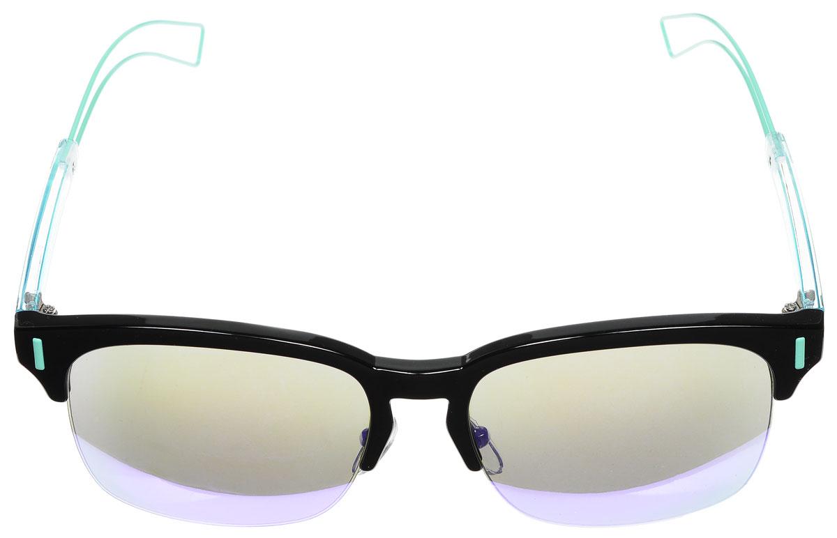 Очки солнцезащитные женские Vitacci, цвет: черный, голубой. O163O163Стильные солнцезащитные очки Vitacci выполнены из металла и высококачественного пластика. Линзы данных очков обладают высокоэффективным поляризационным покрытием со степенью защиты от ультрафиолетового излучения UV400. Используемый пластик не искажает изображение, не подвержен нагреванию и вредному воздействию солнечных лучей. Оправа очков легкая, прилегающей формы, дополнена носоупорами и поэтому обеспечивает максимальный комфорт. Такие очки защитят глаза от ультрафиолетовых лучей, подчеркнут вашу индивидуальность и сделают ваш образ завершенным.