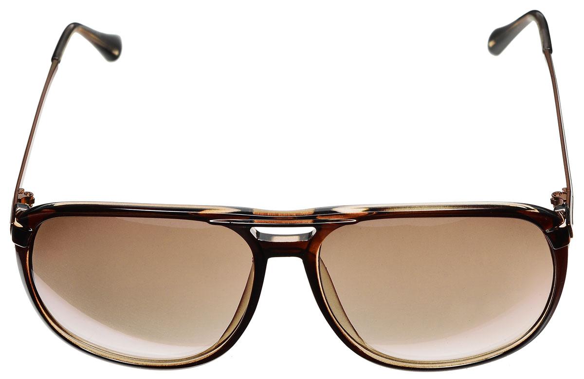 Очки солнцезащитные женские Vitacci, цвет: коричневый. O133O133Стильные солнцезащитные очки Vitacci выполнены из металла и высококачественного пластика. Линзы данных очков обладают высокоэффективным поляризационным покрытием со степенью защиты от ультрафиолетового излучения UV400. Используемый пластик не искажает изображение, не подвержен нагреванию и вредному воздействию солнечных лучей. Оправа очков легкая, прилегающей формы и поэтому обеспечивает максимальный комфорт. Такие очки защитят глаза от ультрафиолетовых лучей, подчеркнут вашу индивидуальность и сделают ваш образ завершенным.