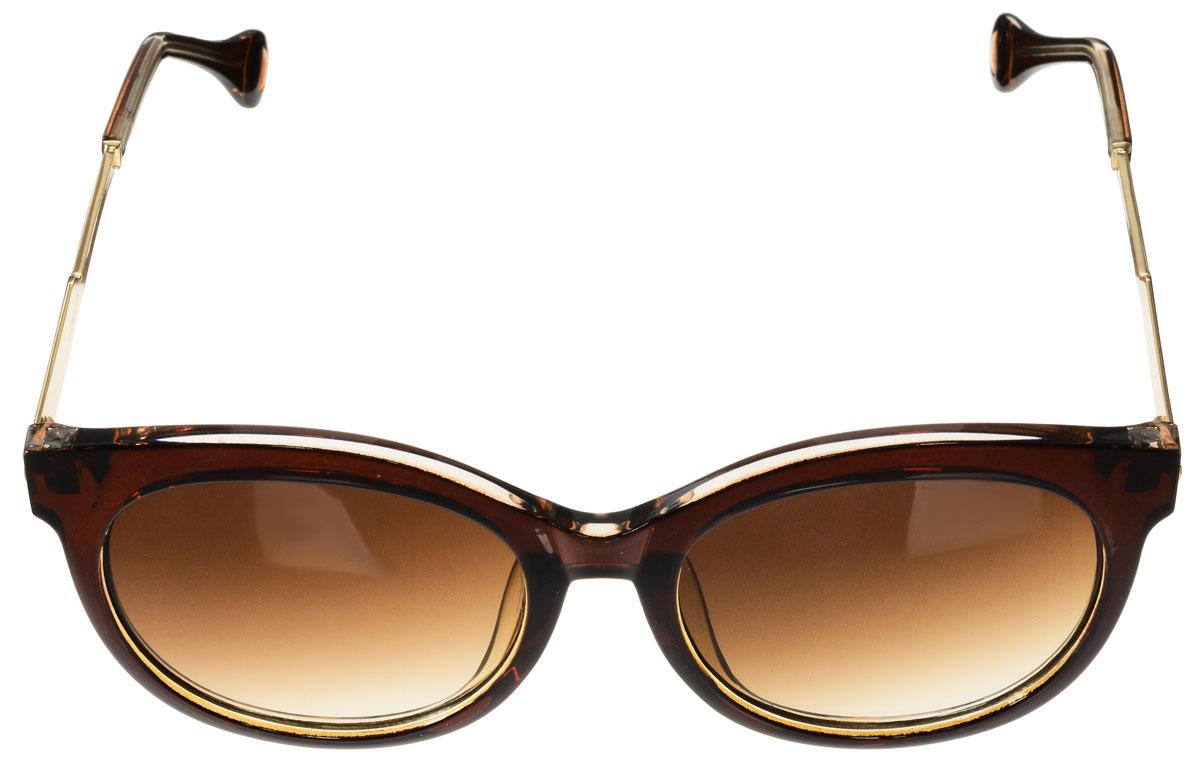 Очки солнцезащитные женские Vitacci, цвет: коричневый, золотой. O188O188Стильные солнцезащитные очки Vitacci выполнены из высококачественного пластика с элементами из металла. Линзы данных очков обладают высокоэффективным поляризационным покрытием со степенью защиты от ультрафиолетового излучения UV400. Используемый пластик не искажает изображение, не подвержен нагреванию и вредному воздействию солнечных лучей. Оправа очков легкая, прилегающей формы и поэтому обеспечивает максимальный комфорт. Такие очки защитят глаза от ультрафиолетовых лучей, подчеркнут вашу индивидуальность и сделают ваш образ завершенным.