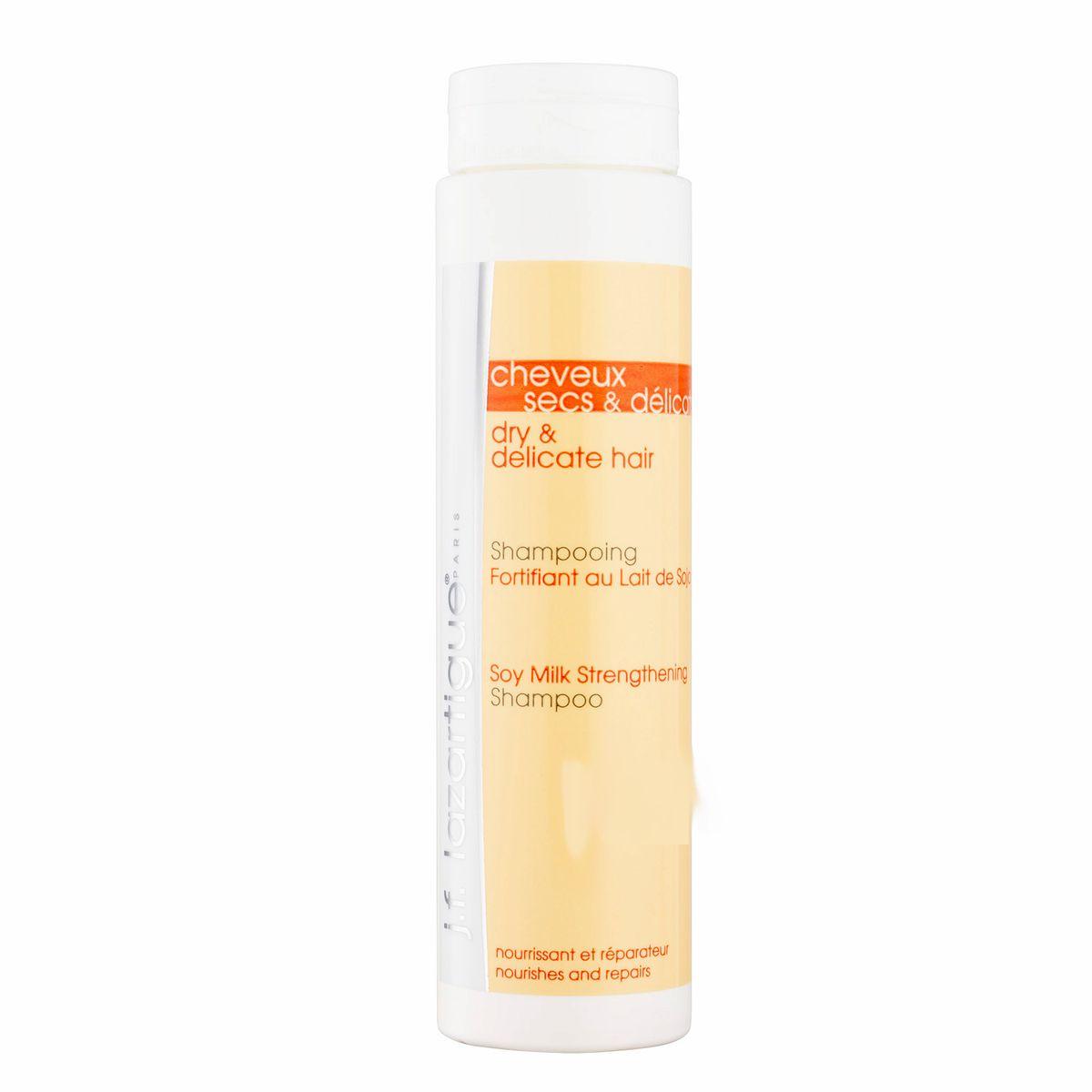 J.F.Lazartigue Укрепляющий шампунь с соевым молочком 200 мл01269Шампунь предназначен для частого и ежедневного использования. Смягчает волосы, придает им легкость. Благодаря содержанию соевого молочка защищает ломкие и ослабленные волосы от разрушения и дегидратации. Возвращает волосам жизненную силу и сияющий блеск. Особенно рекомендуется для ухода за сухими, ослабленными, тонкими волосами, имеющими небольшой объем.